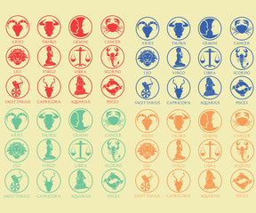 Zodiac signs, multicolored vector