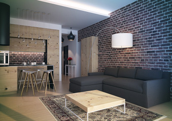 Modern loft Living room interior.