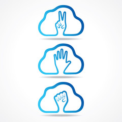 creative victor,help and unity hand icon design concept vector