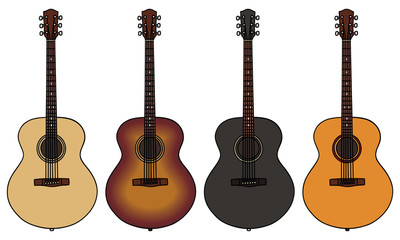 set of four acoustic guitars