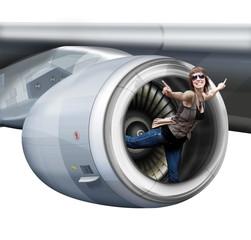 Mädchen, Frau im Flugzeug -  Triebwerk