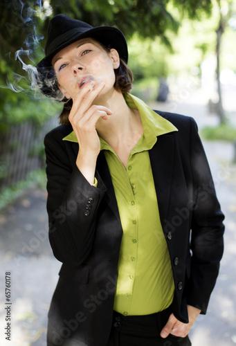 Leinwandbild Motiv woman smoking