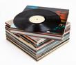 Leinwanddruck Bild - Vinyl records, isolated on white