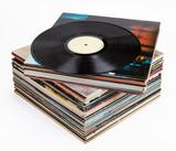 Vinyl records, isolated on white