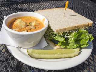 Roasted Red Pepper Soup and Sprout Sandwich