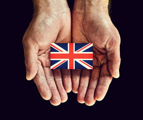 uk flag in hands