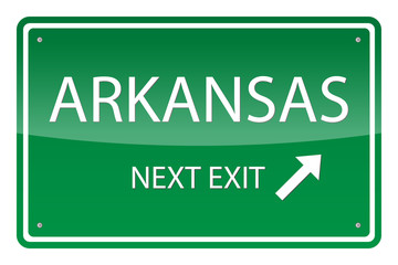 Green road sign, vector - Arkansas