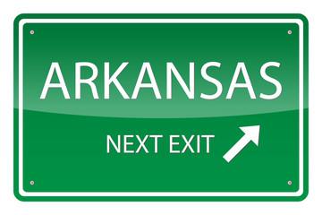 Green road sign, vector - Arkansas