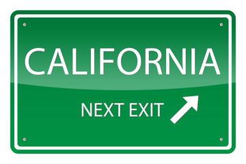 Green road sign, vector - California