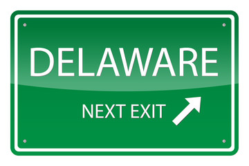 Green road sign, vector - Delaware