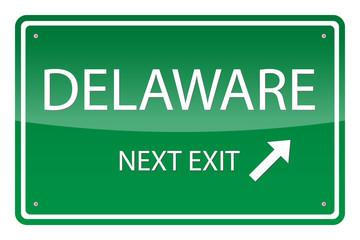 Green road sign, vector - Delaware