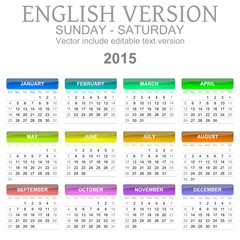 2015 Calendar English Language Version Sun – Sat