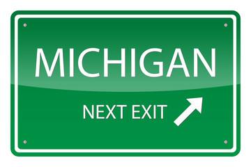 Green road sign, vector - Michigan
