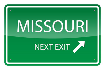 Green road sign, vector - Missouri