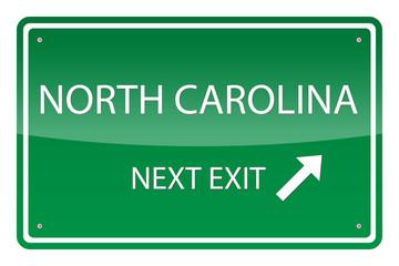 Green road sign, vector - North Carolina