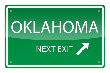 Green road sign, vector - Oklahoma