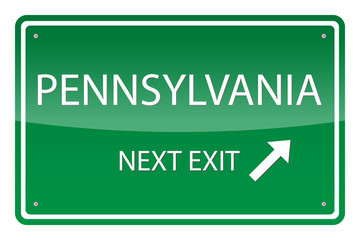 Green road sign, vector - Pennsylvania