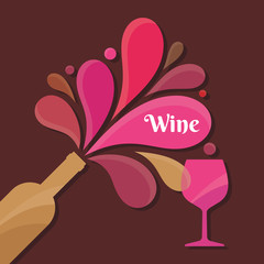 Wine Bottle and Glass - Vector Illustration