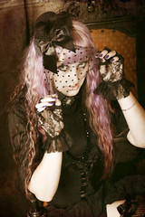 beautiful girl with purple hair with a veil, gothic