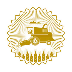 icon combine harvester of wheat ears