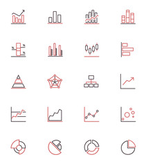 Diagrams, graphics and chatrs outline simple icon set