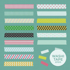 Vector Collection of Cute Patterned Washi Tape Strips