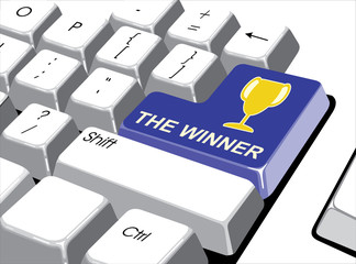 Social media concept: Enter button with The winner on computer