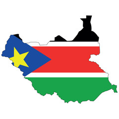 Vector map with the flag inside - South Sudan.