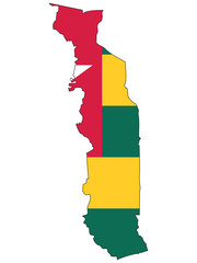 Vector map with the flag inside - Togo.