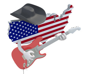 American map with arms that play electric guitar