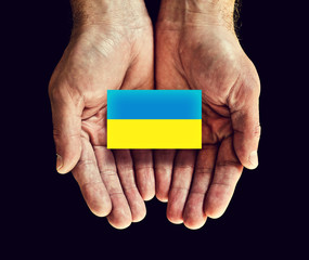 ukraine flag in hands