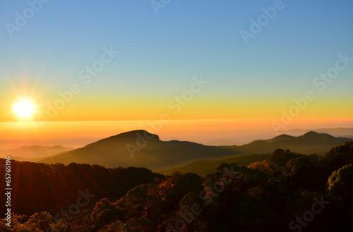 Mountain Landscape at Sunrise