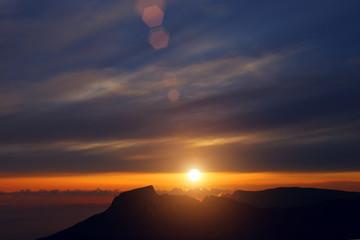 sunset over the mountains of Crimea, a mountain Ilyas-Kaya