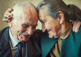 Cute 80 plus year old married couple posing for a portrait