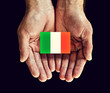 italy flag in hands