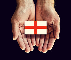 england flag in hands