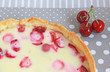 Cake with cherry, strawberry and sour cream