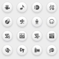 Audio video icons with white buttons on gray background.