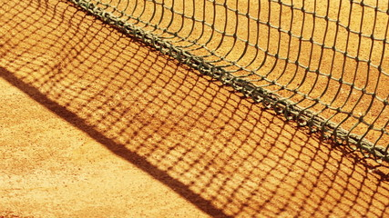 Tennis net with shallow depth of field.