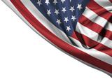 USA waving flag corner isolated on white - 65767522