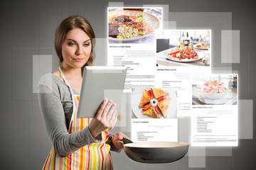 Women looking recipes over the internet