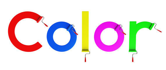 "Roller brush and word ""color"", 3d"
