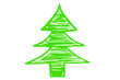 grüner Weihnachtsbaum, Silhouette