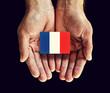 france flag in hands