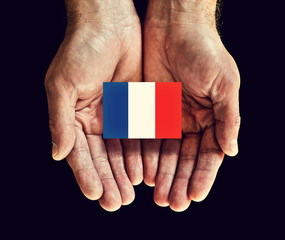 france flag in hands