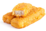 Fried fishfingers on white surface