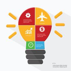 Light bulb Infographics design,vector