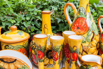 Colorful hand painted pottery