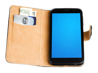 Leather purse with banknote, credit card and phone