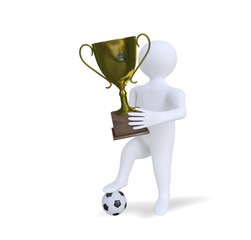 3D man with  cup and soccer ball
